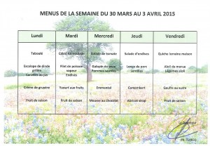menus du 30-03 au 3-04