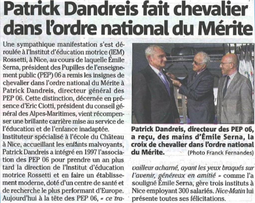 Patrice Dandreis fait chevalier dans l'ordre national du Mérite